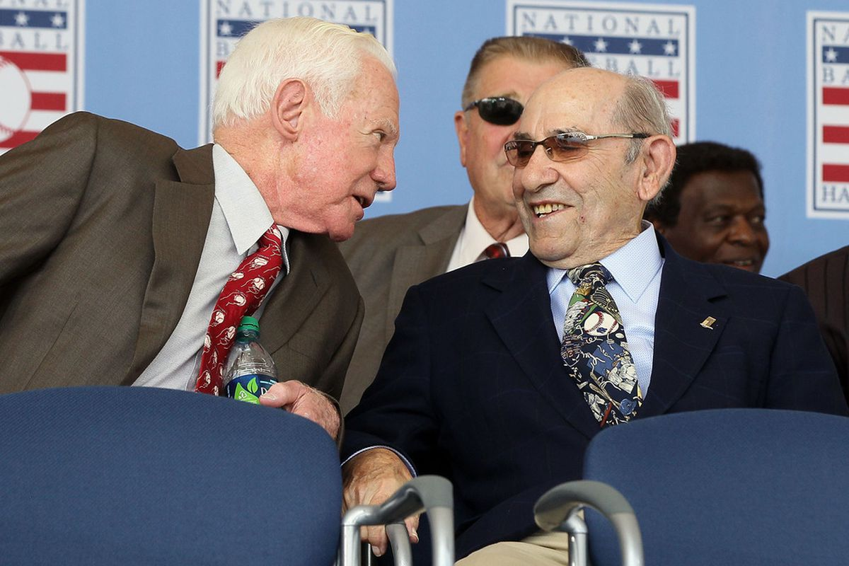 """Whitey: """"Hey Yog, remember that one game in '59?"""" Yogi: """"Heh, I'd rather not. It was memorable, but no one wants to remember it."""""""