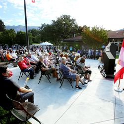 A large crowd gathers for the new Gold Star Families Memorial Monument dedication in North Ogden on Saturday, Aug. 1, 2020.