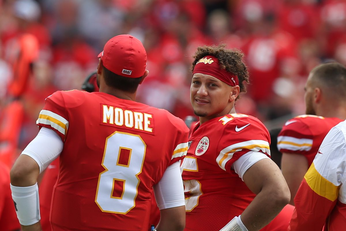 Kansas City Chiefs quarterbacks Patrick Mahomes and Matt Moore on the sidelines in the fourth quarter of an AFC matchup between the Baltimore Ravens and Kansas City Chiefs on September 22, 2019 at Arrowhead Stadium in Kansas City, MO.
