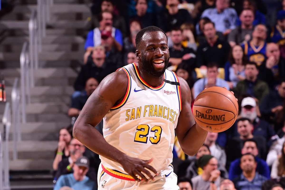Draymond Green of the Golden State Warriors handles the ball against the Houston Rockets on February 20, 2020 at Chase Center in San Francisco, California.