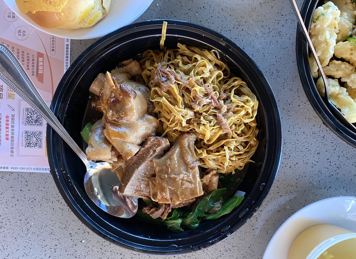 Cantonese egg noodles with beef and pigs feet at Tam's Noodle House in San Gabriel.