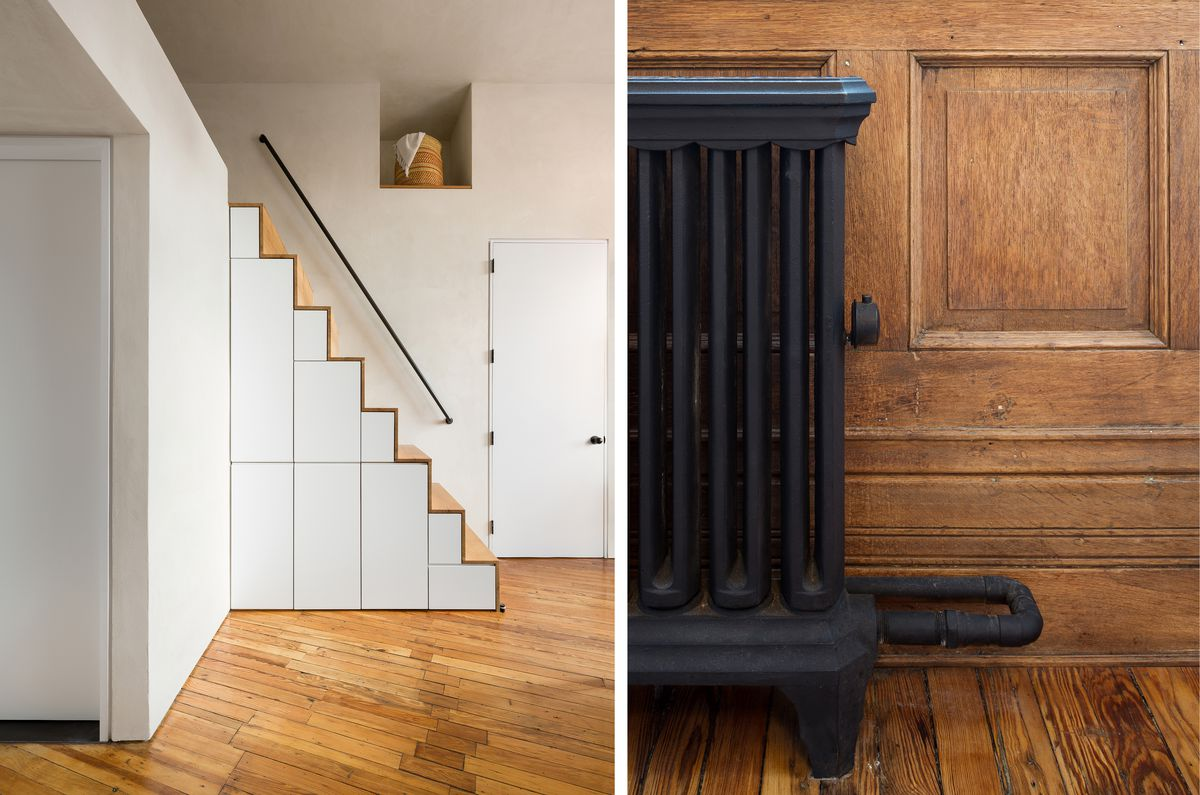 Left: A steep flight of stairs goes to a loft in the bedroom. There are cabinets under the stairs. Right: Mary Bolt, the owner, liked the original paneling, floor, and radiator. She had them restored.