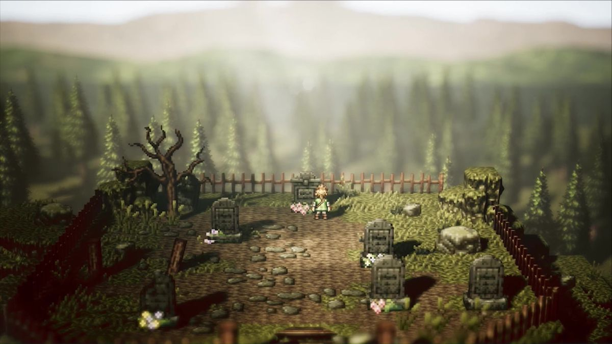 Octopath Traveler - character standing in a cemetery