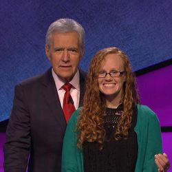 """Pleasant Grove resident and BYU alumna Elisabeth Larsen competed on """"Jeopardy"""" Monday night."""