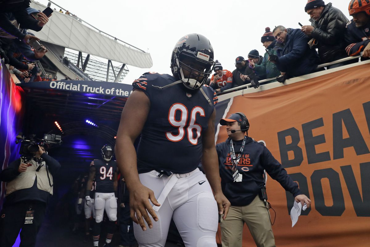 """After missing eight games with a dislocated left elbow, Bears defensive end Akiem Hicks (96) is eager to return against the Packers. """"Now that I'm getting back into the flow of things, I'm starting to feel my body waking up and getting back to being an athlete again. So it's a good feeling."""""""