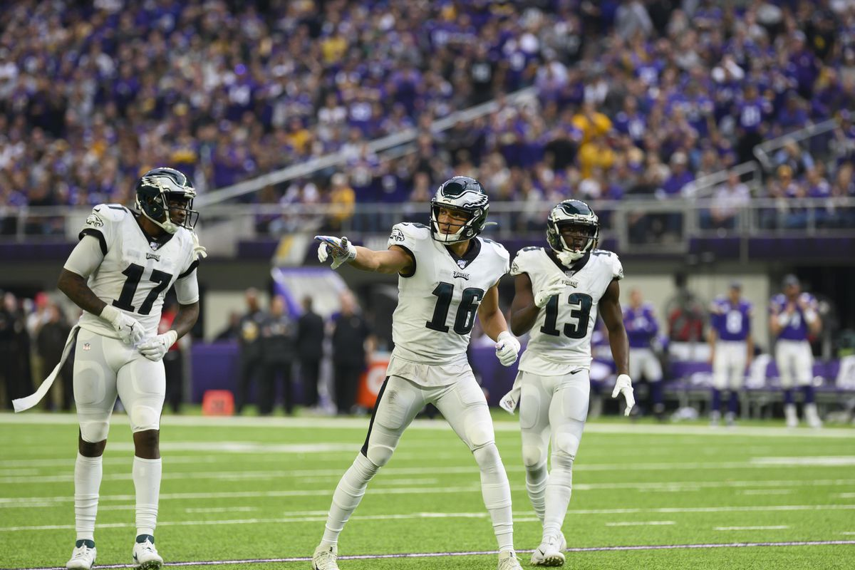Alshon Jeffery of the Philadelphia Eagles, Mack Hollins, and Nelson Agholor line up in the third quarter of the game against the Minnesota Vikings at U.S. Bank Stadium on October 13, 2019 in Minneapolis, Minnesota.