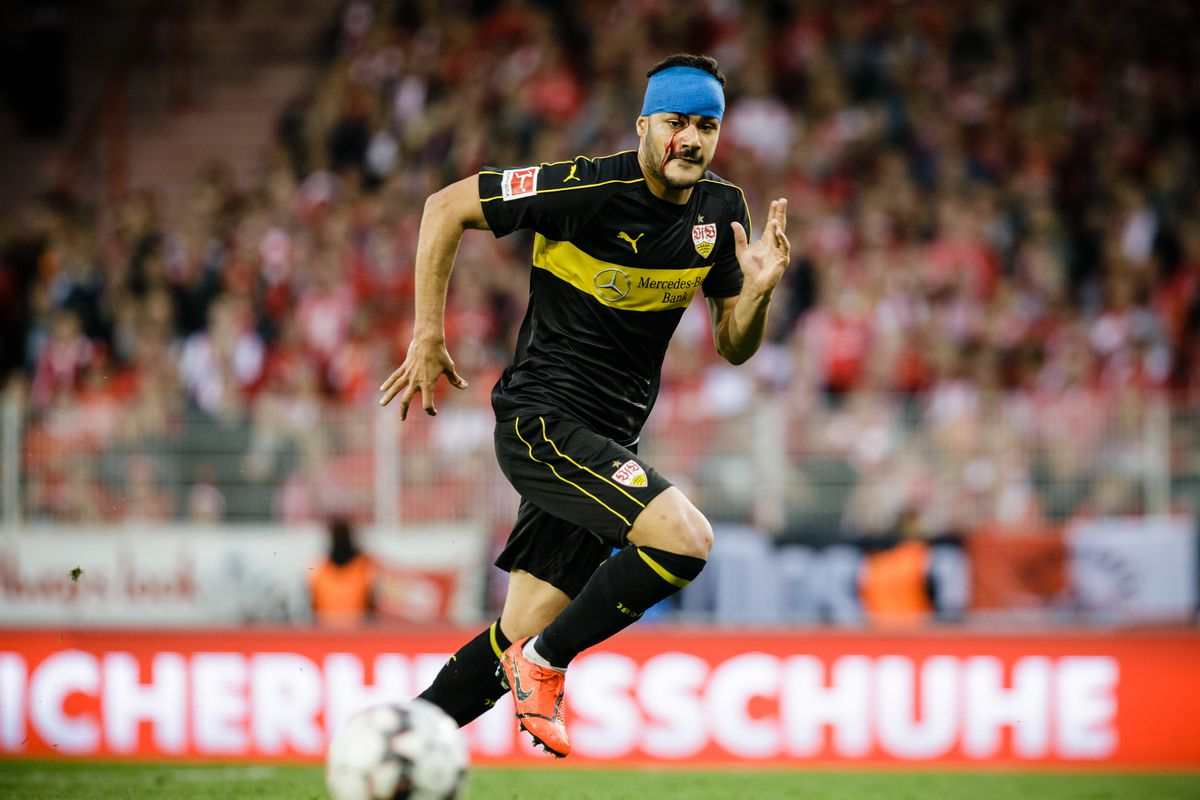 BERLIN, GERMANY - MAY 27: (EDITORS NOTE: Image has been digitally enhanced.) Ozan Kabak of Vfb Stuttgart is seen with a head unjury during the Bundesliga playoff second leg match between 1. FC Union Berlin and VfB Stuttgart at Stadion an der alten Foersterei on May 27, 2019 in Berlin, Germany.