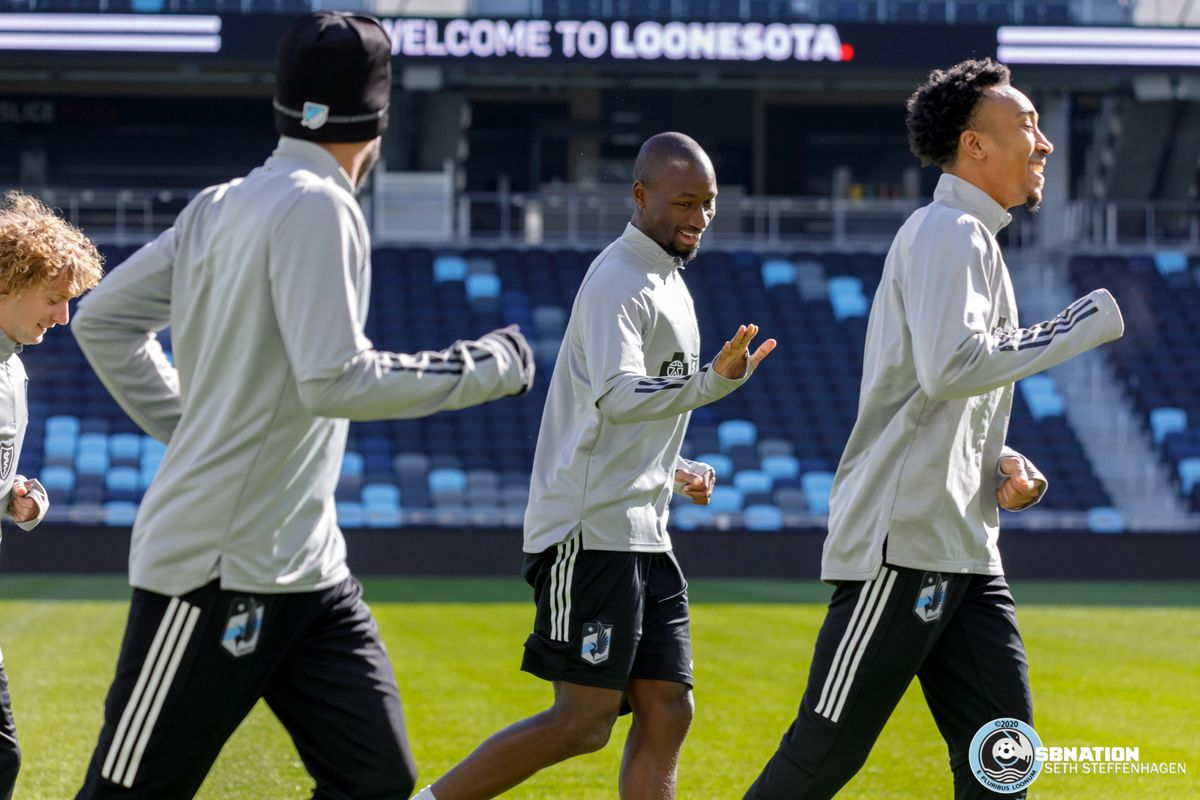 March 10, 2020 - Saint Paul, Minnesota, United States - Minnesota United defender Ike Opara (3) and Minnesota United midfielder Marlon Hairston (94) have a laugh during the Loon's first team practice at Allianz Field.