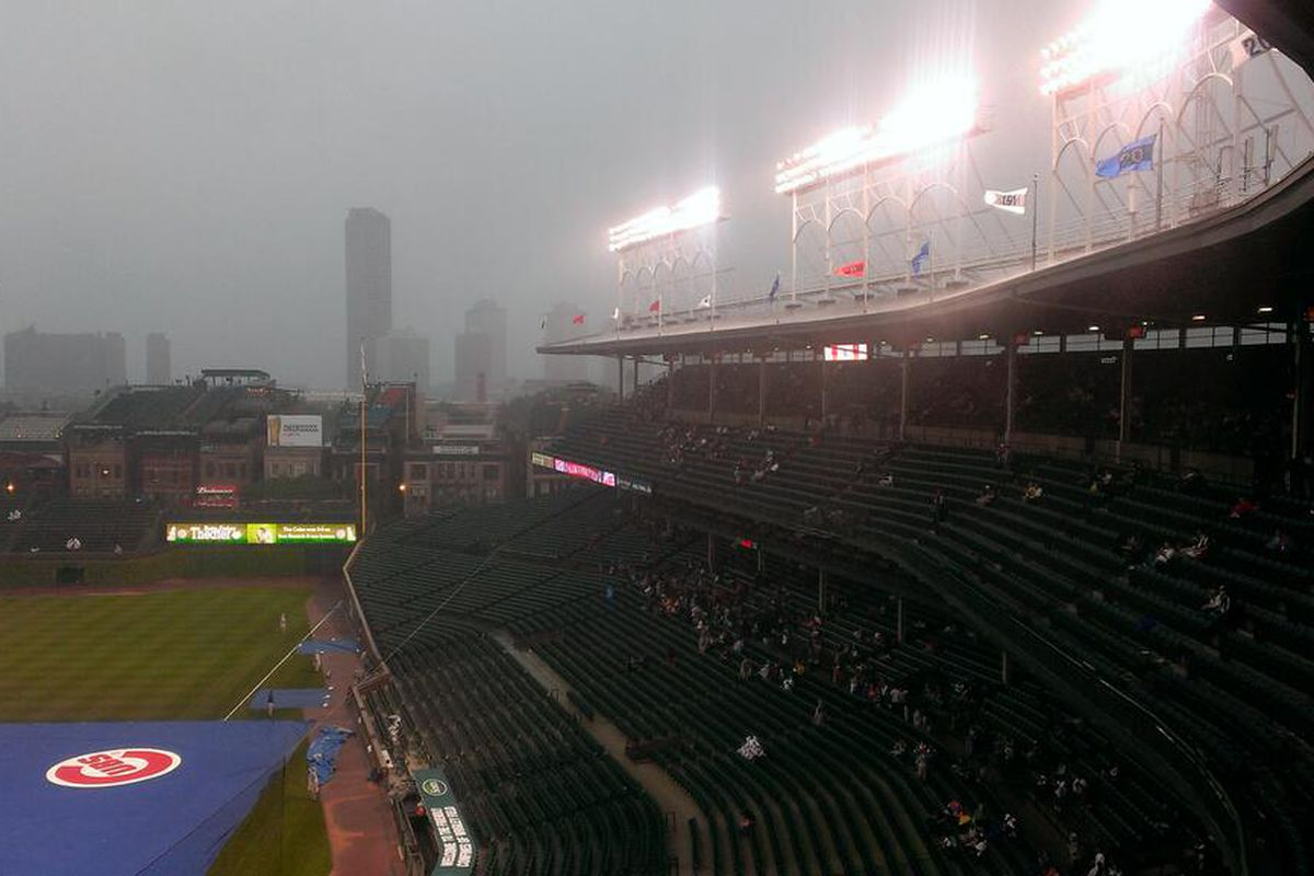 Rain coming down in sheets right now here at Wrigley Field.