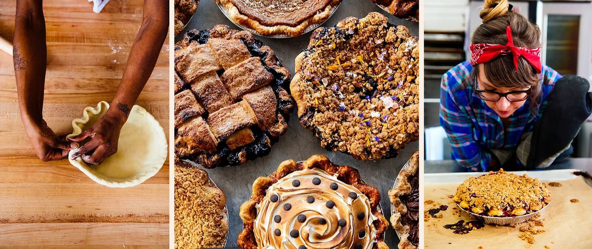 A composite of photos that feature different steps in the pie making process. There is a person molding a pie crust, a group of assorted pies and a person looking at a freshly made pie.
