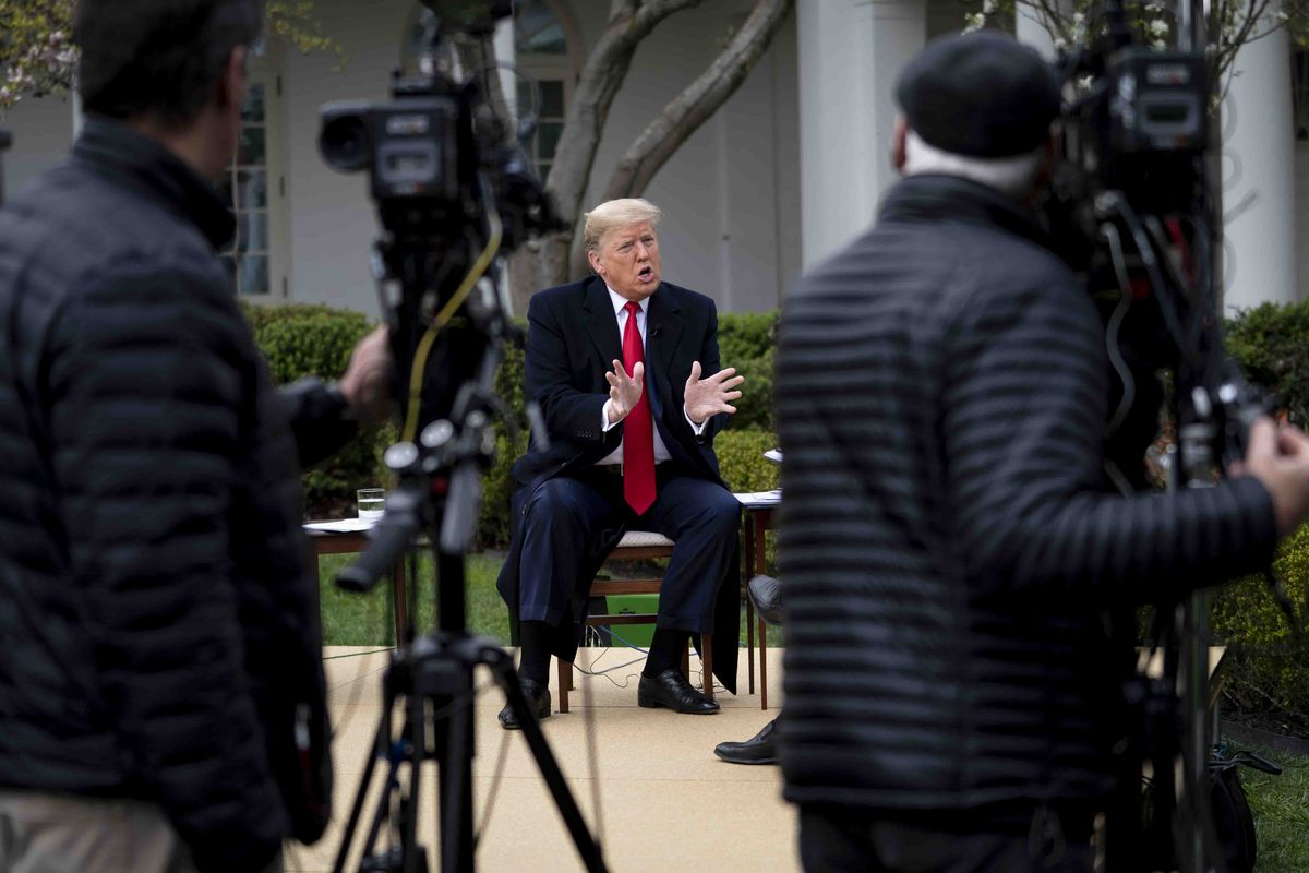 President Trump Holds Fox Virtual Town Hall From White House Rose Garden