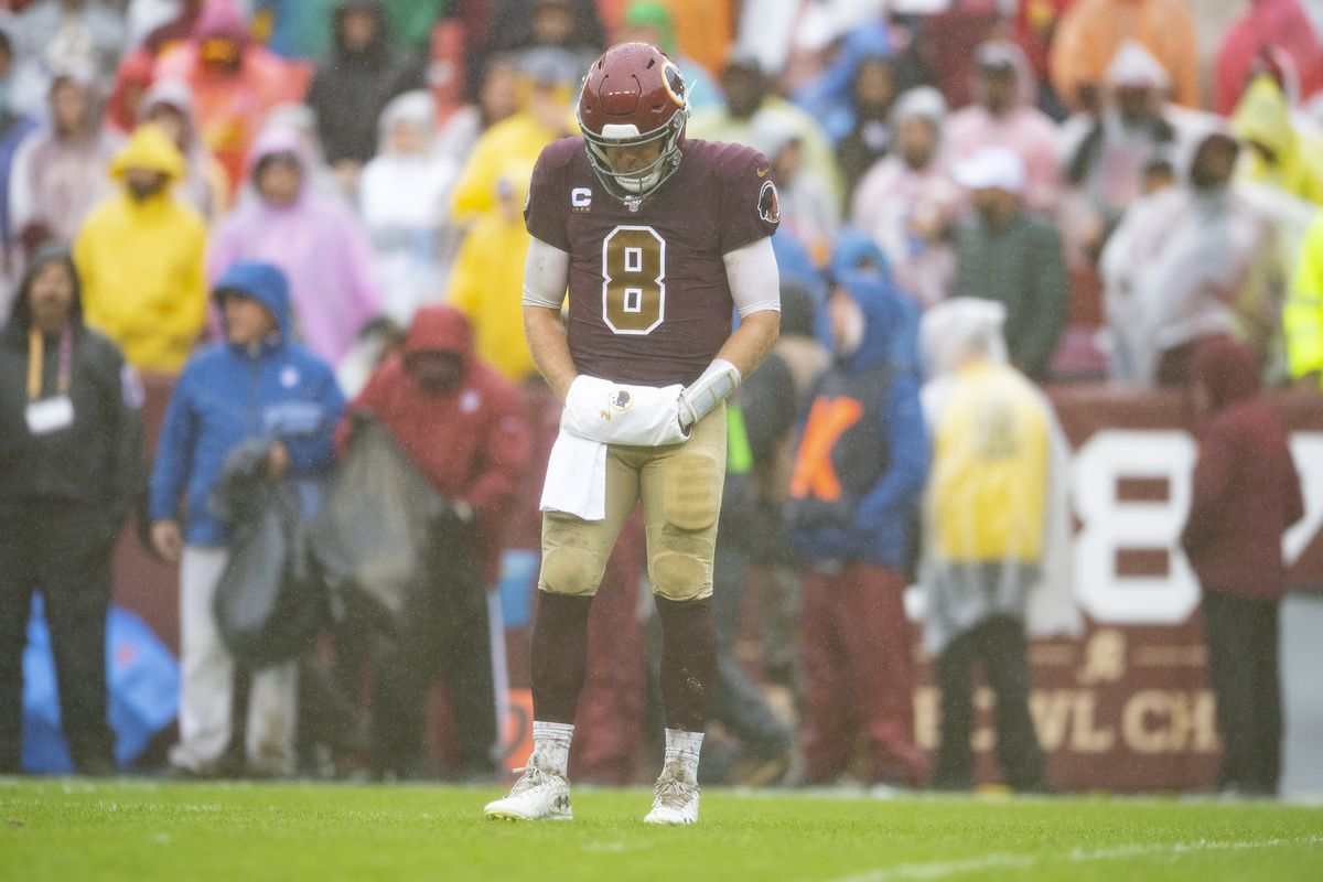 Washington quarterback Case Keenum stands on the field during the fourth quarter of the game against the San Francisco 49ers at FedExField.