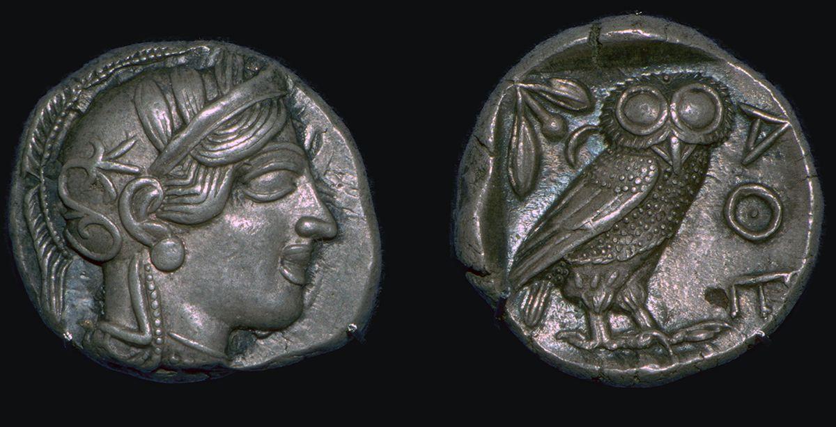 An Athenian owl coin.