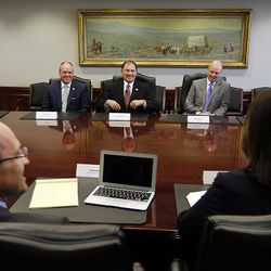 Gov. Gary Herbert, center, meets with the Deseret Media Companies Editorial Board in Salt Lake City on Monday, May 23, 2016.