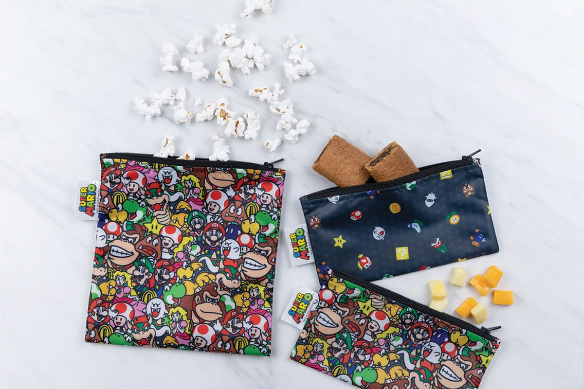 Bumkin's Mario-themed toddler snack pouches contain popcorn and a snack bar.