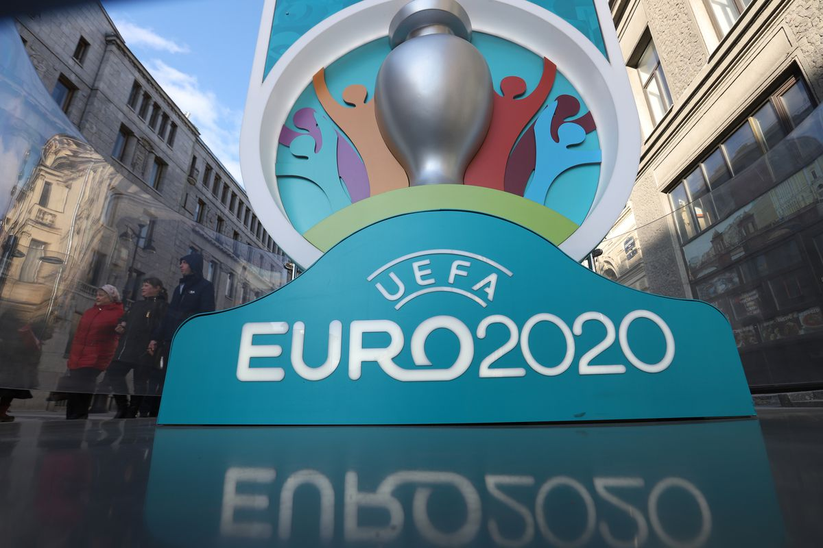 Logo of UEFA Euro 2020 at a countdown clock to the tournament.