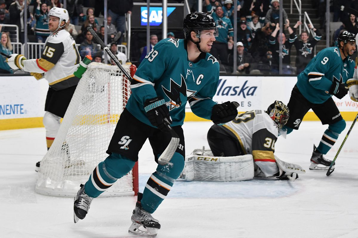 Logan Couture #39 of the San Jose Sharks celebrates after scoring against the Vegas Golden Knights at SAP Center on December 22, 2019 in San Jose, California.