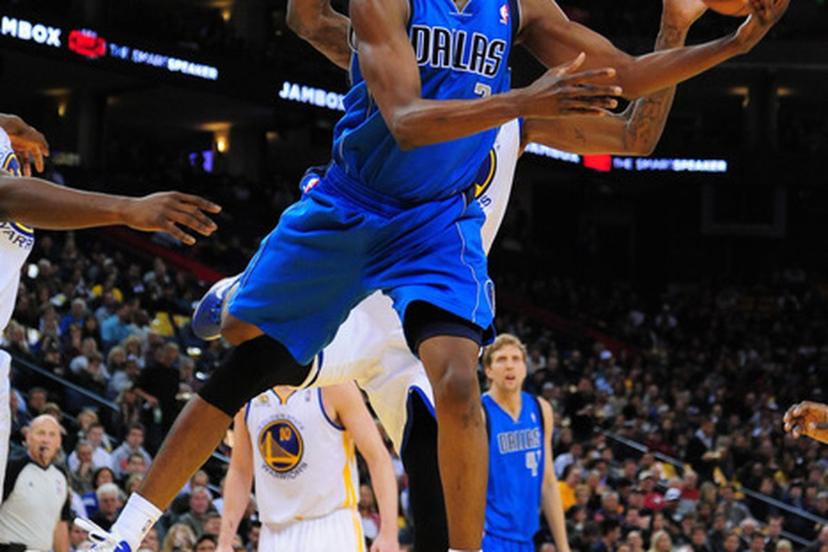 April 12, 2012; Oakland, CA, USA; Dallas Mavericks guard Rodrigue Beaubois (3) drives to the basket against the Golden State Warriors during the second quarter at ORACLE Arena. Mandatory Credit: Kyle Terada-US PRESSWIRE