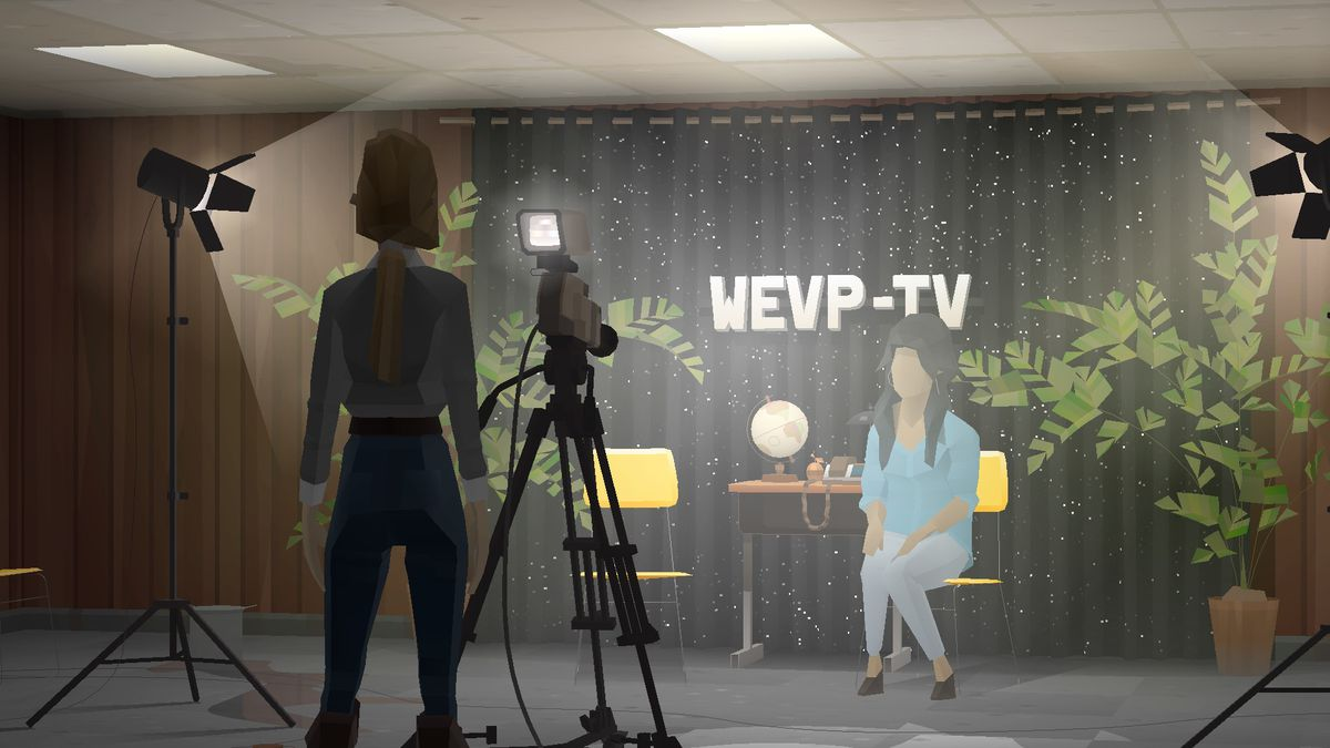 Characters stage a TV broadcast at WEVP-TV in Kentucky Route Zero