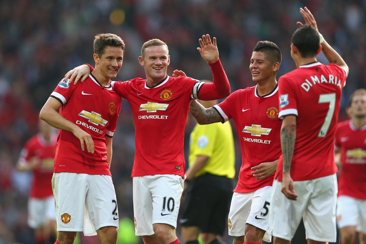 Ander Herrera (L), Marcos Rojo (second from R) and Angel di Maria (R) were all part of United's astonishing transfer-market spending this summer, and all played well against a frankly terrible QPR side yesterday.