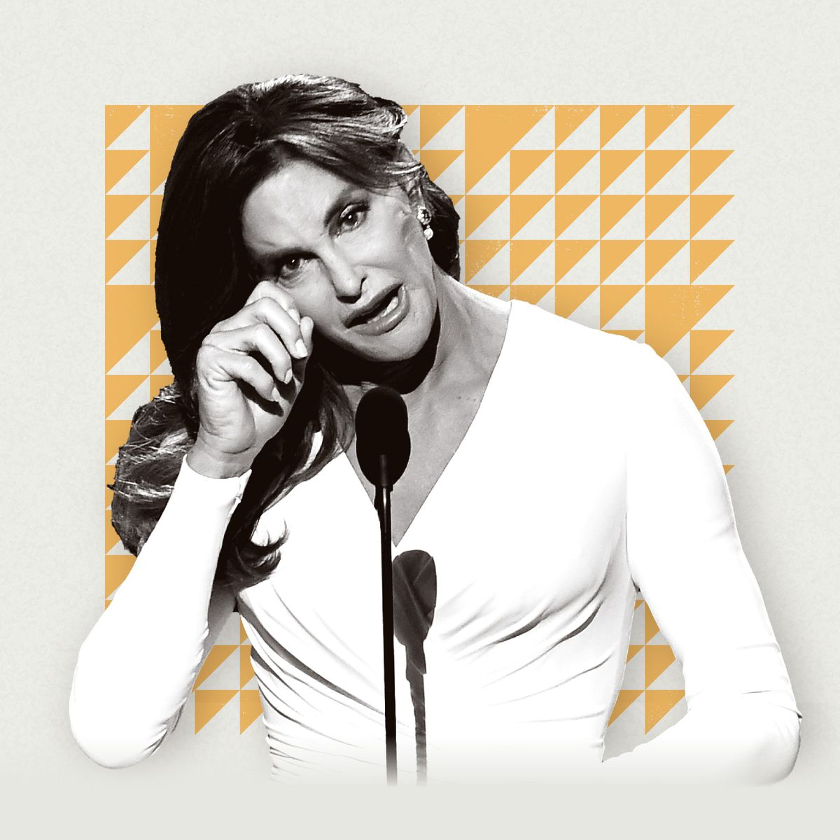 A photo illustration featuring Caitlyn Jenner wiping away a tear.