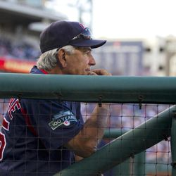 Boston Red Sox manager Bobby Valentine watches during the ninth inning of Boston's 8-7 win over the Washington Nationals in an exhibition baseball game Tuesday, April 3, 2012, in Washington.