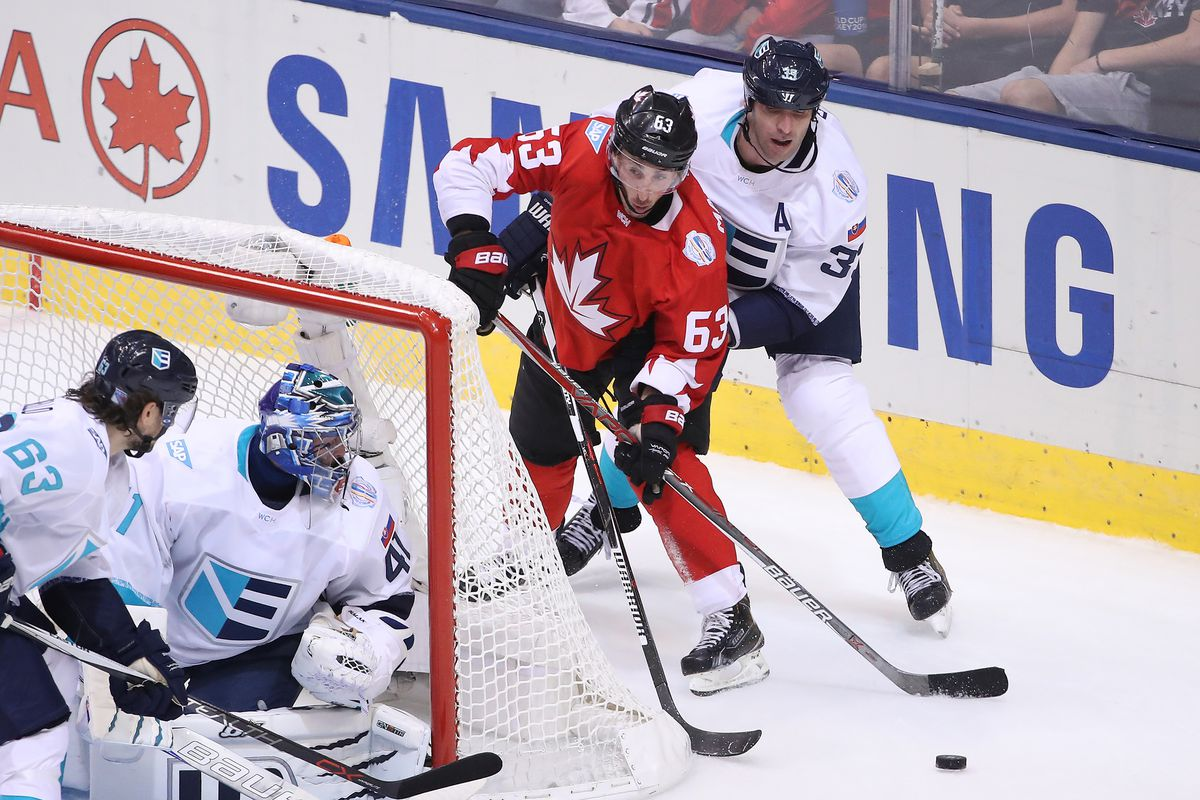 World Cup Of Hockey 2016 - Team Europe v Canada. Bruin on Bruin action behind the net (Brad Marchand and Zdeno Chara)