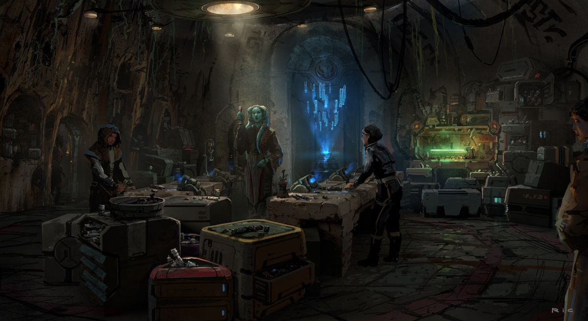 Early concept art for Savi's workshop shows a lightsaber in the corner on a test stand and a blue-tinted hologram hovering in the air over a station.