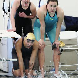 Swimmers compete at the 6A girls swim championship at Kearns Oquirrh Park Fitness Center in Kearns on Saturday, Feb. 20, 2021.