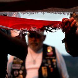 The American Legion Post 27 of Farmington hosts an American flag retirement ceremony at the Davis County Fair in Farmington on Thursday, Aug. 15, 2013. Participants in the ceremony included the American Legion, Utah National Guard, Boy Scouts and Girl Scouts, and members of Davis County fire departments.