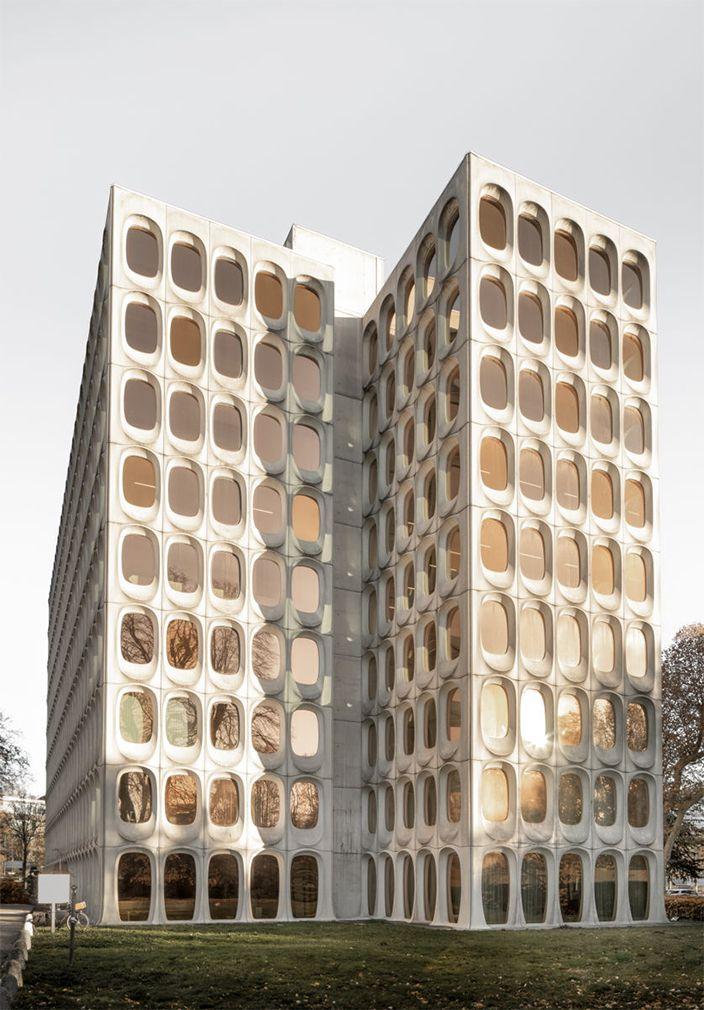 Facade of modernist building