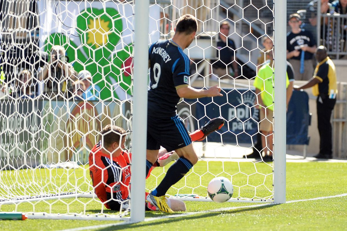 Union goalie Zac MacMath makes a great diving save... from inside the goal.