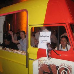 """Belga Cafe brought their own """"food truck"""" instead of a plain, old table like everyone else."""