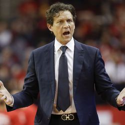 Utah Jazz head coach Quin Snyder reacts after a foul was called against the team during the first half of an NBA basketball game against the Houston Rockets, Sunday, Feb. 9, 2020, in Houston.