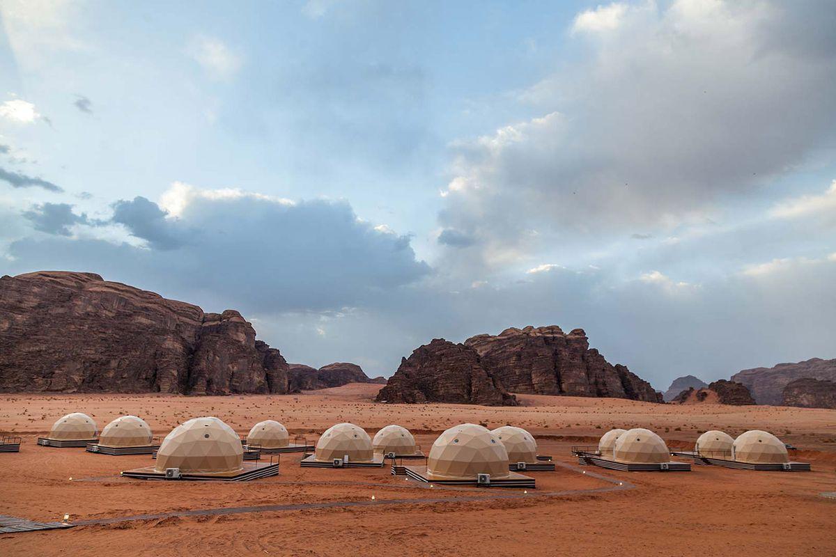 Geodesic domes in desert