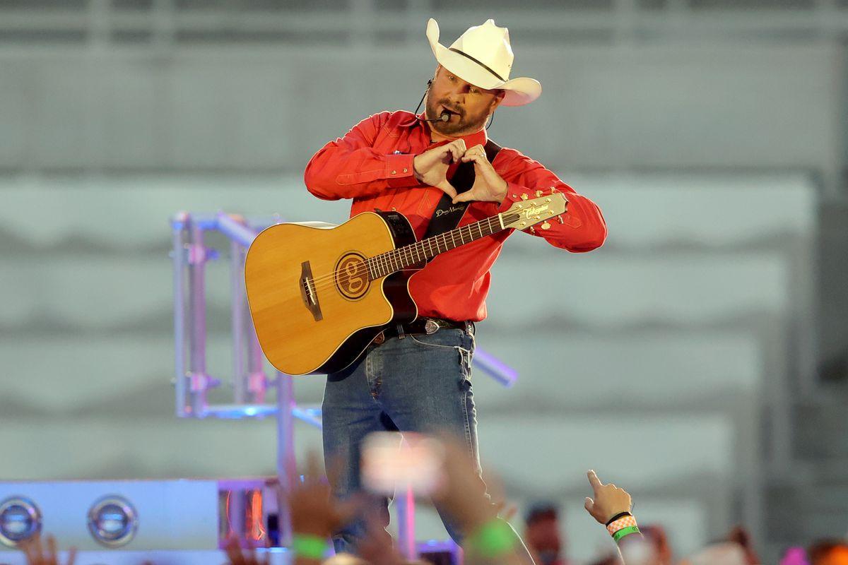 Garth Brooks performs at Rice-Eccles Stadium at the University of Utah in Salt Lake City.