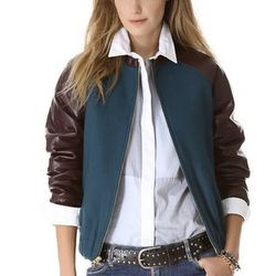 """<strong>Laveer</strong> Wool & Leather Bomber, <a href=""""http://www.shopbop.com/wool-leather-bomber-laveer/vp/v=1/1515181175.htm"""">$627</a> at <a href=""""http://www.sfcarrots.com/"""">Carrots</a>"""