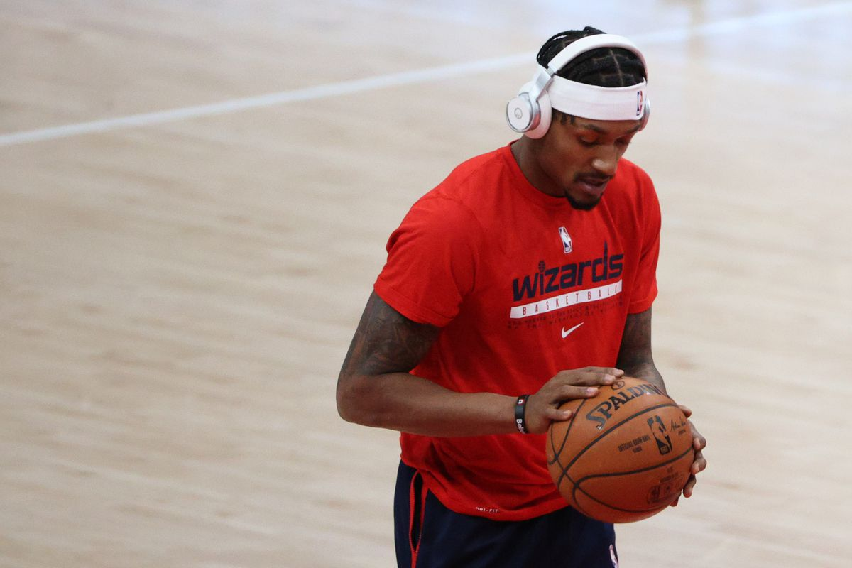 Bradley Beal of the Washington Wizards warms up before playing against the Phoenix Suns at Capital One Arena on January 11, 2021 in Washington, DC.