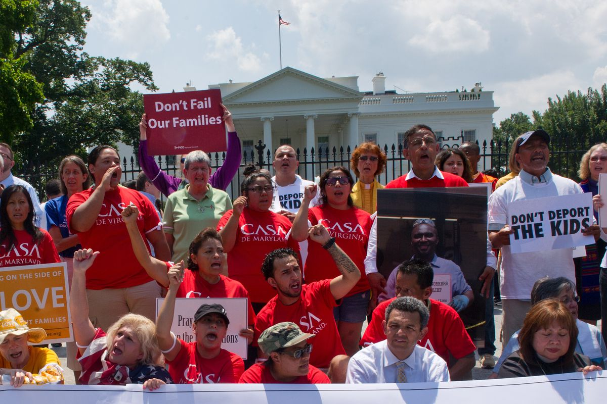 A rally outside the White House in 2014. The White House hasn't agreed.