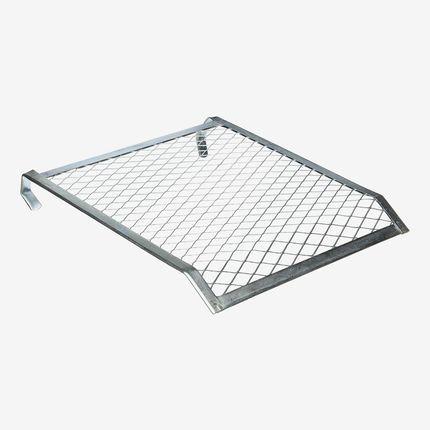 Silver mesh grid.