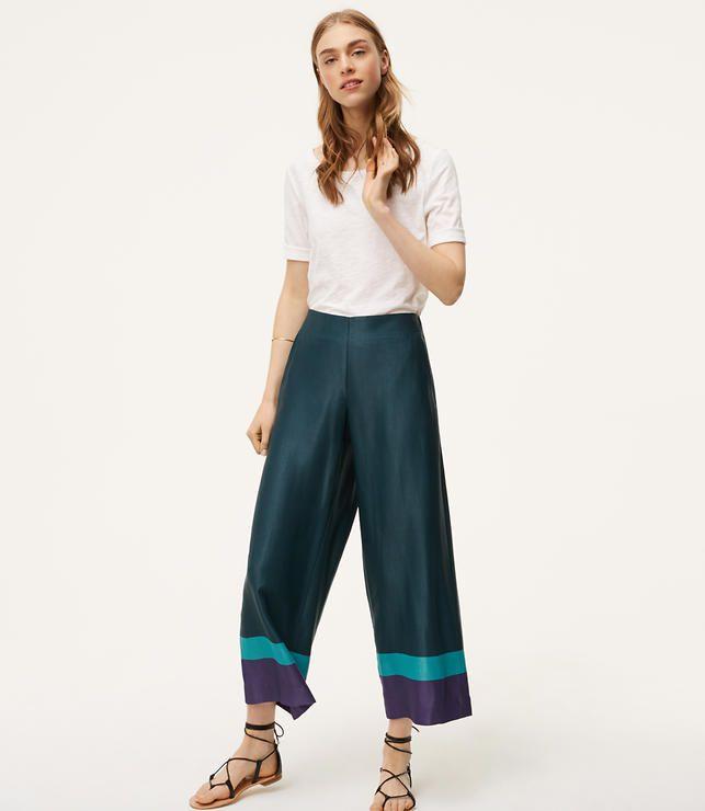 model in colorblock pants