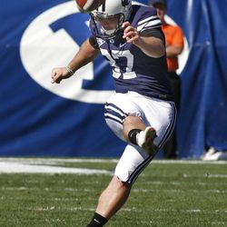 Brigham Young Cougars kicker Justin Sorensen (37) as Brigham Young University defeats Weber State University in football 45-6 Saturday, Sept. 8, 2012, in Provo, Utah.