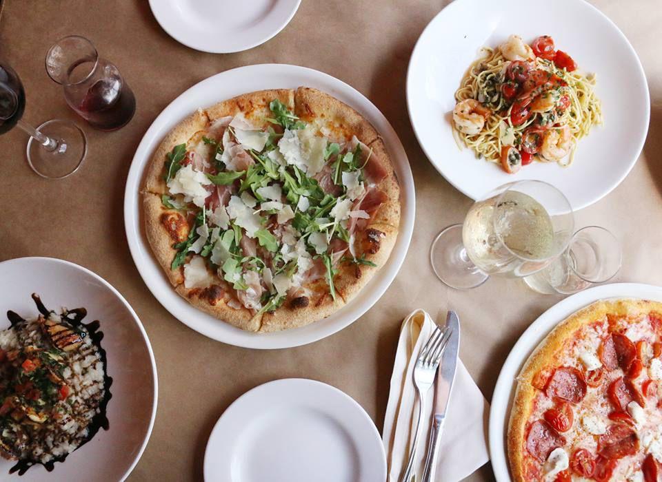 Pizza and pasta dishes at Taverna