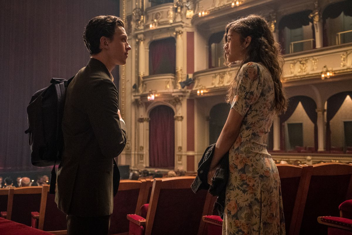 """Peter Parker (Tom Holland) and M.J. (Zendaya) share a quiet moment in """"Spider-Man: Far From Home."""""""