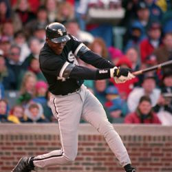 FILE — Chicago White Sox Michael Jordan follows through on his sixth inning RBI double against the Chicago Cubs April 7, 1994 in Chicago. Jordan. the greatest player in NBA history and the most popular athlete since Muhammad Ali is expected to announce his retirement Wednesday at a news conference in Chicago, a source with close ties to the NBA told The Associated Press on Monday night Jan. 11, 1999. (AP photo/Mark Elias)