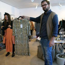 Joey Grana, left, and Richard Wainwright pull pieces for A Current Affair's holiday show exhibit at Marie Monsod's vintage showroom.