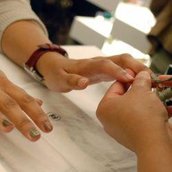 A free Chanel manicure in progress