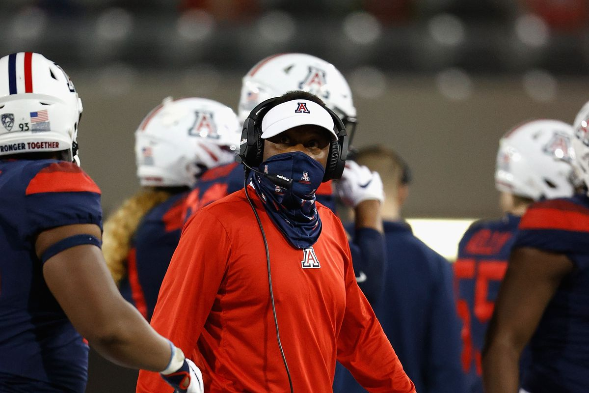 Head coach Kevin Sumlin of the Arizona Wildcats watches from the sidelines during the first half of the NCAAF game against the Arizona State Sun Devils at Arizona Stadium on December 11, 2020 in Tucson, Arizona. This years game is the 94th contest of the Territorial Cup.
