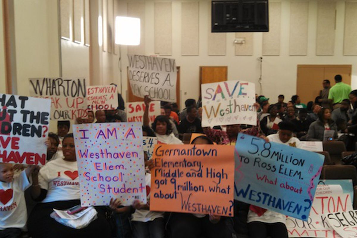 Westhaven supporters arrived early Tuesday evening protest the school's closure.