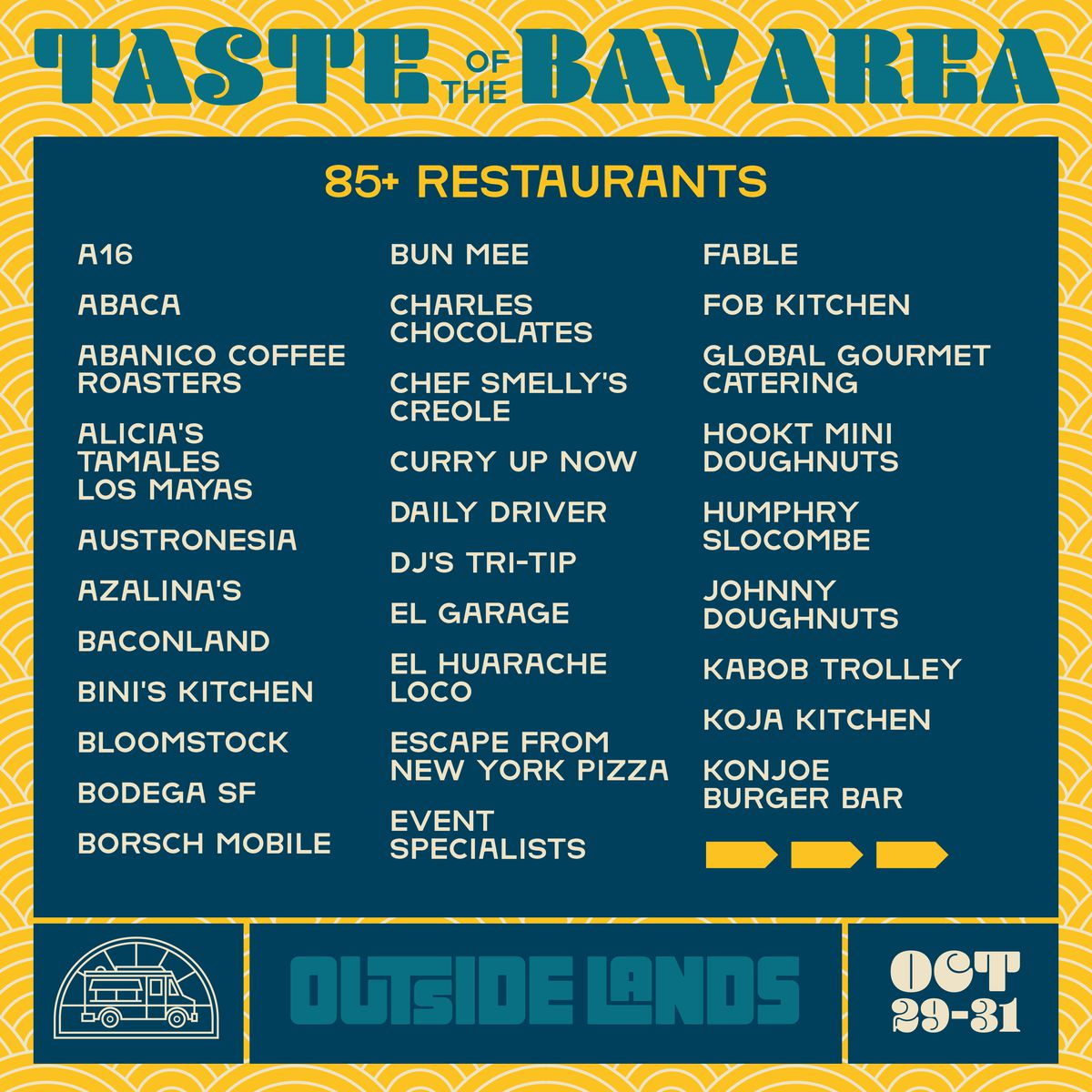 Page one of the Outside Lands 2021 food lineup
